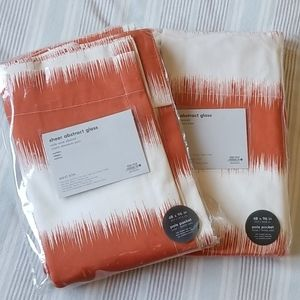 NWT Pair West Elm Orange and White Modern Curtains